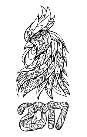 color pages: Illustration of a roosters head and figures 2017 with Boho pattern. Doodle illustration. Sketch of tattoo prints on T-shirts Illustration