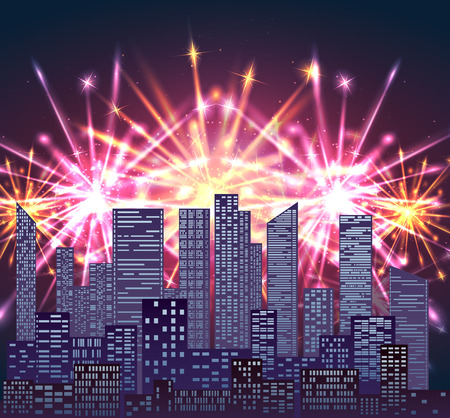Illustration with city and bright fireworks. Vector element for your creativity