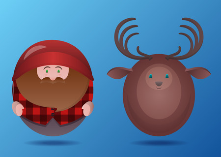hefty: Set of cartoon round toy lumberjack and deer. Vector element for your creativity