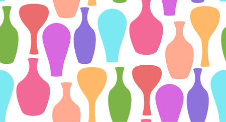 gently: Seamless texture with decorative multicolored vases. Vector background for your creativity Illustration