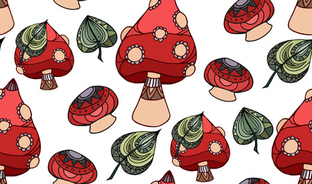Seamless texture with poisonous mushroom Amanita, decorated boho pattern. Doodle element. Vector element for wraps, wallpaper and your design.