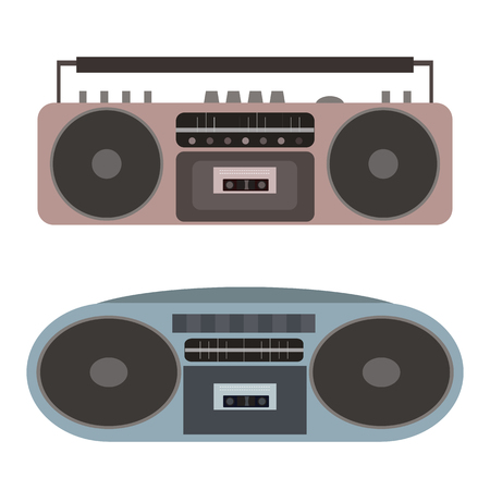 cd recorder: Vector set of flat cassette recorders. Vector element for your creativity