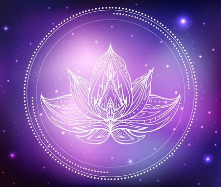 Vector neon illustration of lotus with boho pattern, background space with stars and nebula. Spiritual, magical illustration for your creativity