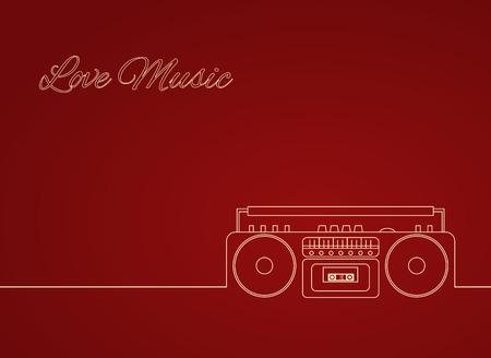 Contour vector illustration d'un vieux magnétophone à cassettes. Élément de vecteur pour votre créativité