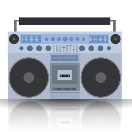 walkman: Vector flat illustration Boombox. Cassette recorder. Vector element for your creativity