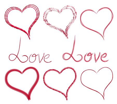 Set hearts and inscriptions of different style and type. Love. Vector elements for your creativity Illustration