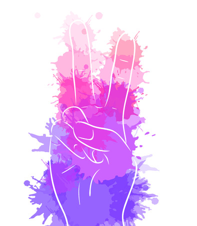 Hand showing peace with watercolor splashes. Vector element for printing on T-shirts, covers, postcards and your creativity Illustration