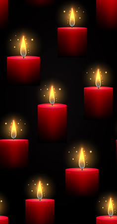 Seamless dark texture with burning red candles and sparks. Vector background for your creativity.
