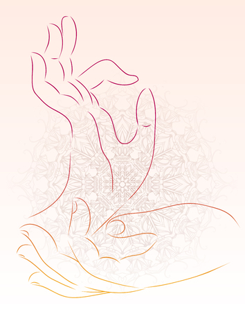 Vector illustration of a hand of a Buddha with a mandala pattern. Vector element for your creativity Illustration