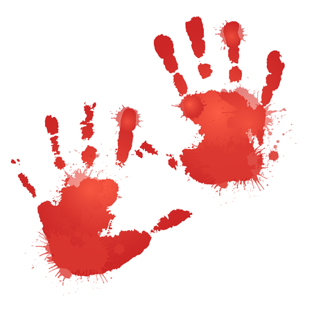 bloody hand print: Red bloody hand prints with splashes. Vector element for your creativity