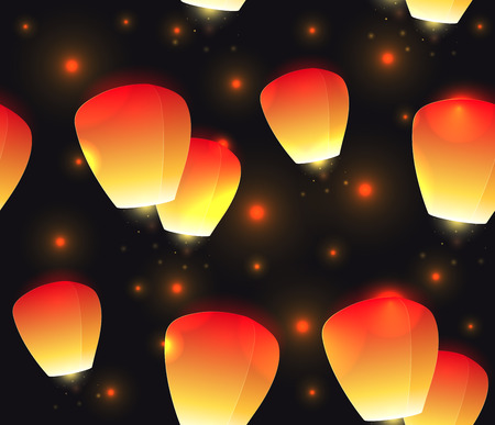 Seamless festive texture sky lanterns and sparks. Vector pattern for your creativity