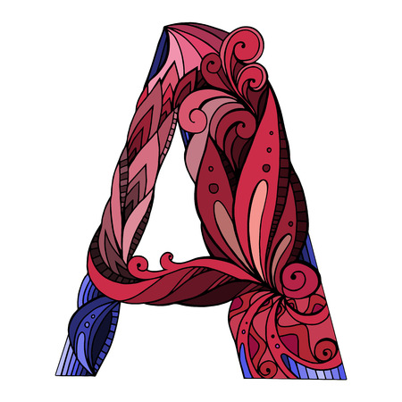 Freehand drawing capital letter A with floral doodle pattern. Vector element for your design Vetores