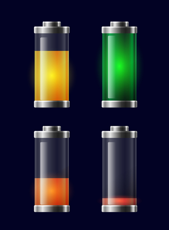 Set of transparent different charging battery.  Vector element for displays, icons and your design