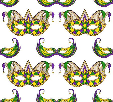Seamless festive pattern with masks. Vector texture on the Mardi Gras holiday for your creativity