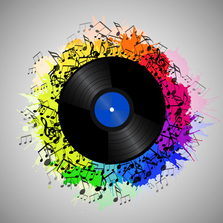 tuned: Illustration of vinyl record with music notes and rainbow watercolor splashes.