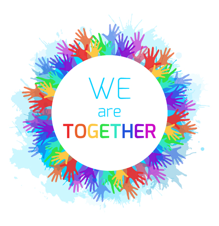Round frame with rainbow hands and watercolor spray. Unity and solidarity. Vector element for your creativity Stock Illustratie