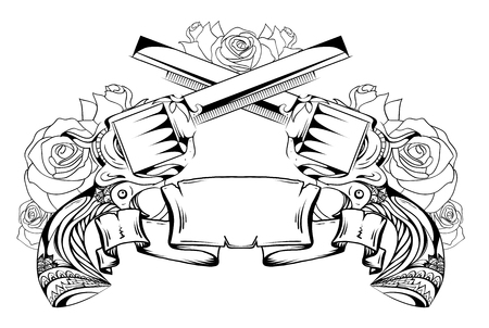 Contour drawing of two revolvers, roses and scroll. Duel. Vector element for sketching tattoos, printing on T-shirts and your design