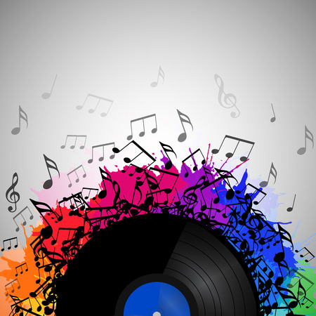 flooring: Illustration of vinyl record with music notes, rainbow watercolor splashes and with space for text. Vector element for presentations, covers and your creativity
