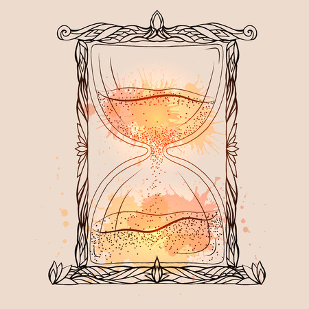 Illustration of an hourglass with a doodle pattern and watercolor spray. Vector element for printing on T-shirts, phone cases, postcards, sketch of tattoos and your design