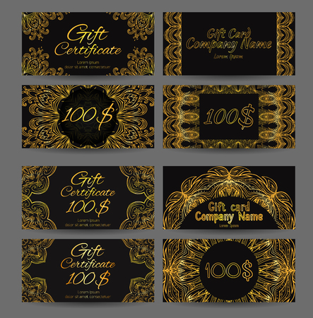 Set of vintage luxury gift certificates and vouchers with astract golden luxury pattern style jazz age.