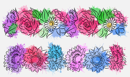 Set of flower brushes with watercolor splashes. Contour drawing.