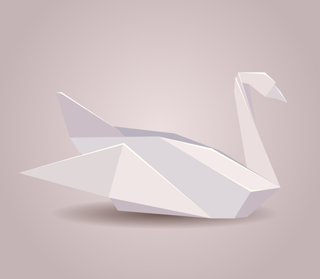 Illustration Of A Paper Origami Swan Paper Zoo Vector Element