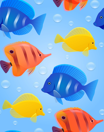 Seamless texture with sea tropical fish and bubbles. Vector bright pattern for wrapping paper, wallpaper and your design.