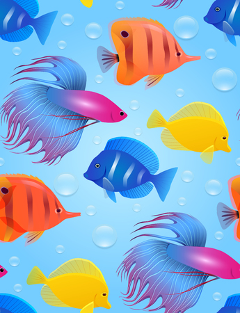 Seamless texture with sea tropical fish and bubbles. Illustration