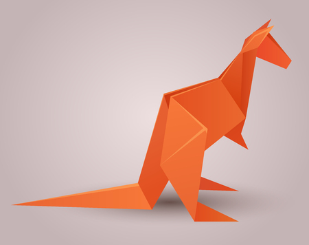 Illustration Of A Paper Origami Kangaroo Paper Zoo Vector Element