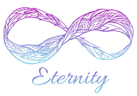 Illustration of the sign of eternity with a boho pattern and color gradient. Doodle element for print on a T-shirt, sketches of tattoo, invitations and your creativity. Coloring for Adult