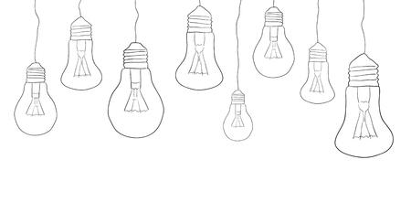 illuminate: Linear illustration of hanging light bulbs. Border. Vector element for your creativity Illustration