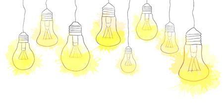ハング水彩飛散と電球の線形の図。境界線。あなたの創造性のベクトル要素  イラスト・ベクター素材