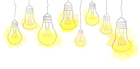 Linear illustration of hanging light bulbs with watercolor splashes. Border. Vector element for your creativity