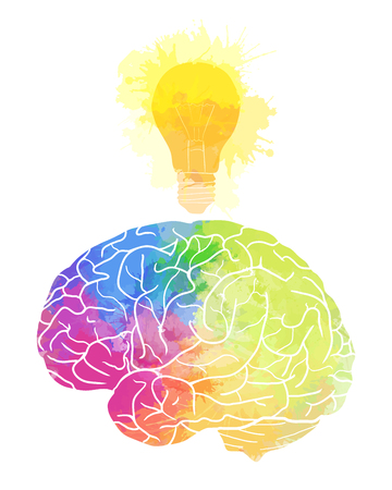 Human brain with rainbow watercolor splashes and a light bulb on a white background. Idea, inspiration. Vector element for your design