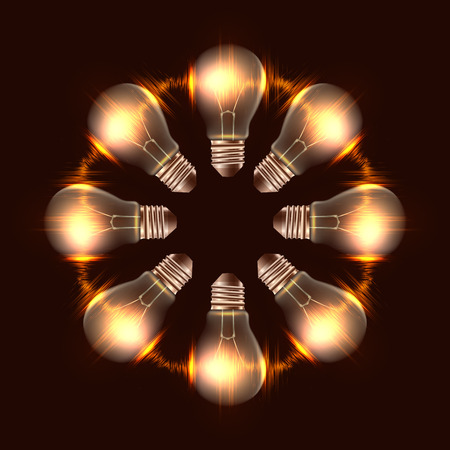 Round frame of realistic light bulbs with light. Vector element for your creativity Illustration