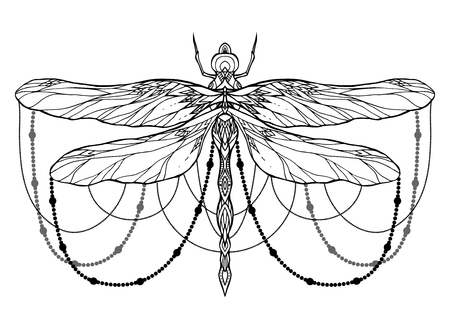 Black and white dragonfly illustration with boho pattern and beads. Vector element for sketching tattoos, printing on T-shirts, postcards and your creativity