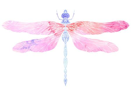 自由奔放に生きるパターンでトンボの水彩イラスト。あなたの創造性のベクトル要素  イラスト・ベクター素材