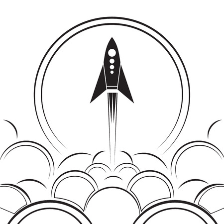 Contour illustration of an upcoming rocket with smoke. Black and white vector illustration