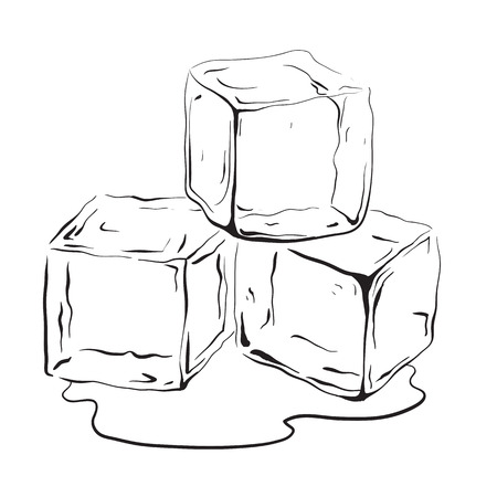 Hand drawn ice cubes. Black and white vector illustration for your creativity. Çizim