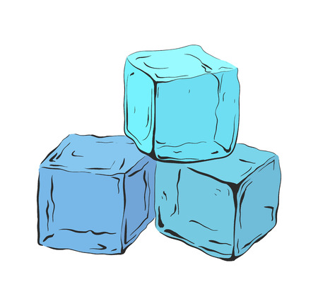Hand drawn blue ice cubes. Vector illustration for your creativity. Çizim