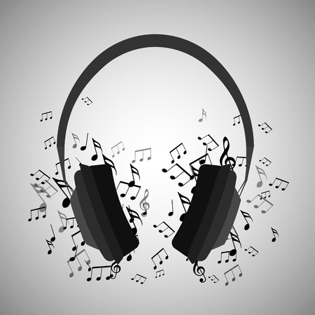 Illustration of headphones with musical notes. Music. Vector element for your creativity. Çizim