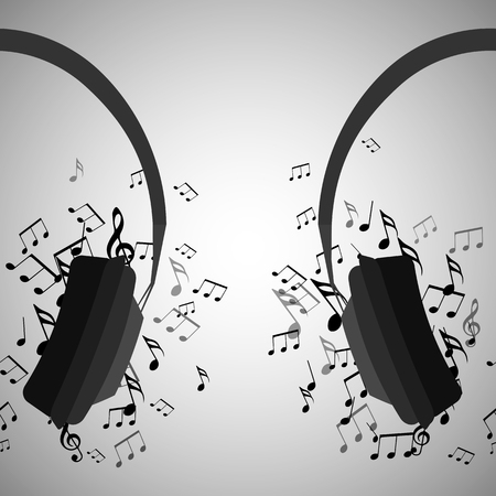 Illustration of half of headphones with musical notes. Music. Vector element for your creativity. Illustration