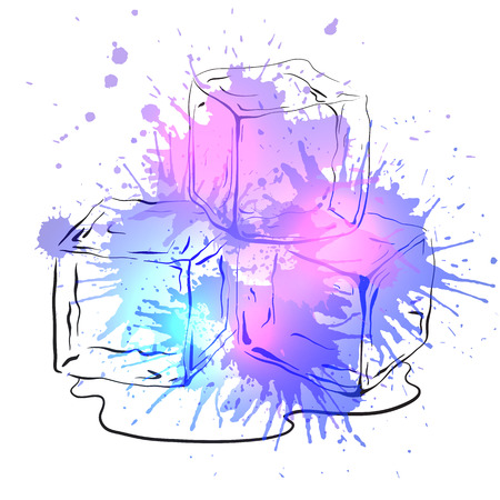 refrigerate: Hand drawn ice cubes with watercolor splashes. Vector illustration for your creativity