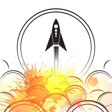 Contour illustration of an upcoming rocket with smoke and watercolor splashing. Vector illustration for your creativity Illustration