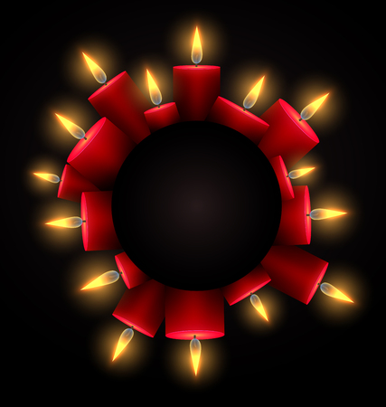 Round frame with red luminous candles and place under the text. Element for writing condolences, Christmas cards and your design