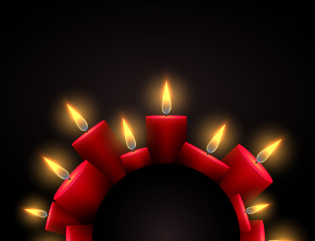 Semicircle frame with red luminous candles and place under the text. Element for writing condolences, Christmas cards and your design Illustration