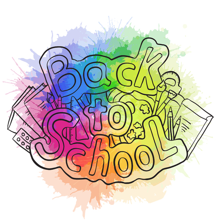 rainbow colors: Doodle text back to school with various school supplies and rainbow watercolor splashes. Vector element for stickers,  cards and your creativity
