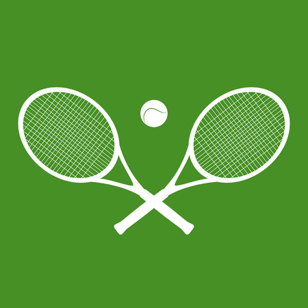 Illustration of silhouettes of rackets and a ball for tennis. Vector element for your creativity