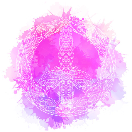 Sign of peace with a boho pattern and watercolor splashes. Vector doodle illustration for printing on T-shirts, postcards, stickers and your creativity.