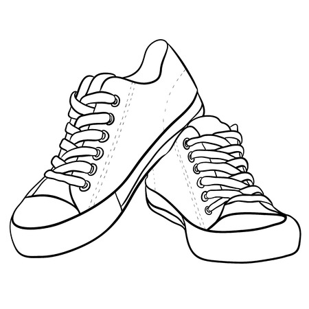 f54c479b3337 Contour black and white illustration of sneakers. Vector element for your  creativity
